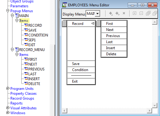 Menu Editor for Pop Up Menus in Oracle Forms