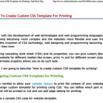 print | How to Create Custom CSS Template for Printing