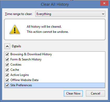 Delete Browsing History and Internet Cookies
