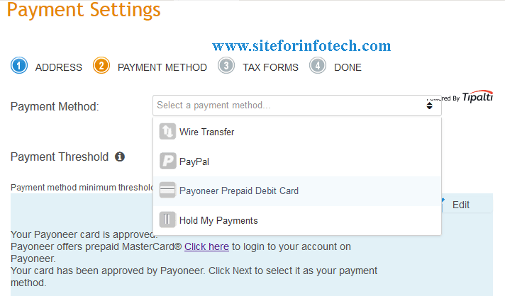 Different payment methods offered by Infolinks to their publishers