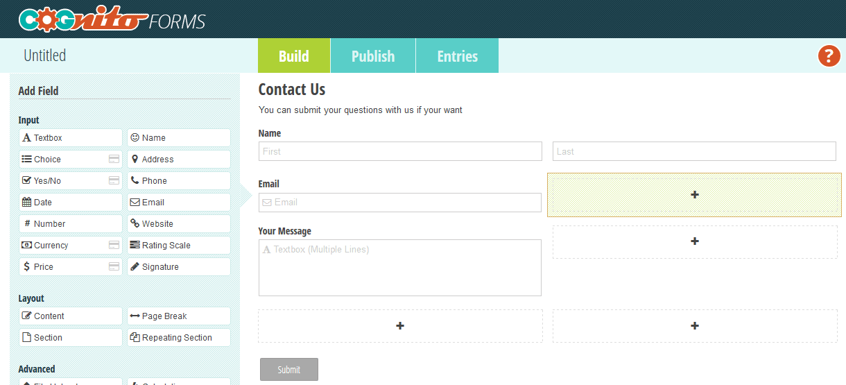 Cognito contact forms