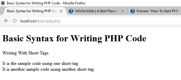 Short Tag Syntax for Writing PHP Code to Start PHP With Basic Coding Scripts