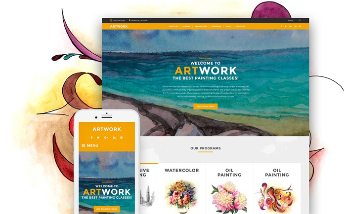 Attractive Art School Responsive WordPress Theme