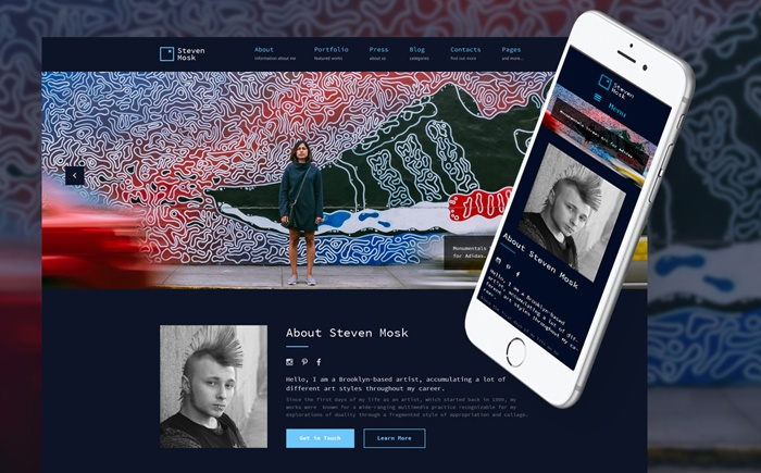 Beautiful and Extraordinary Steven Mosk – Modern Artist Personal Portfolio WordPress Theme