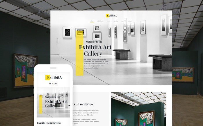Enticing and Flat ExhibitA – Art Gallery Responsive WordPress Theme