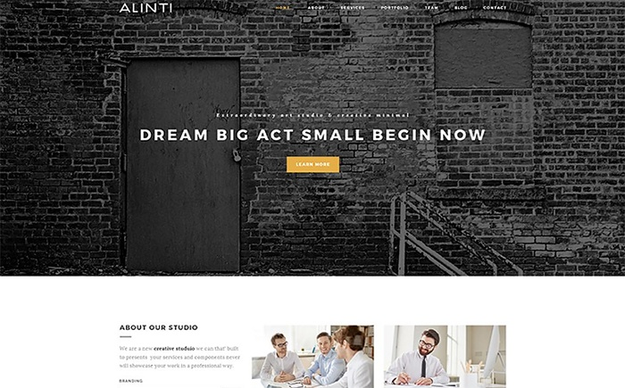 Modern and Polished Looking Alinti – Minimal Creative Portfolio WordPress Theme
