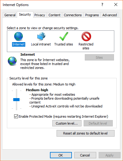 Internet Options security settings
