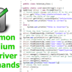 Selenium Webdriver Commands Required for Automated Testing