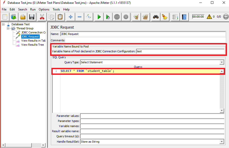 JDBC request to Create a Database Test Plan